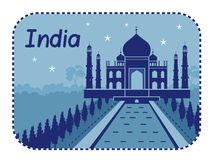 Illustration with Taj Mahal in India Stock Photography