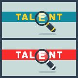Talent word with magnifier concept. Illustration of talent word with magnifier concept Royalty Free Stock Photos