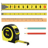 Illustration tape measure length in centimeters, building roulette, measuring device stock illustration