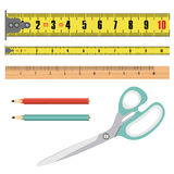 Illustration tape measure length in centimeters, building roulette, measuring device. Illustration realistic object  background Royalty Free Stock Photo