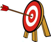 Illustration: target. Illustration: arrow in the center of target Stock Images