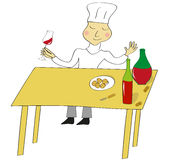 Illustration of taster of wine. Chef taste the wine Royalty Free Stock Images