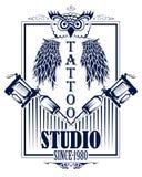 Tattoo art design of Owl bird with tattooing machine. Illustration of Tattoo art design of Owl bird with tattooing machine Stock Photos