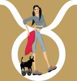 Illustration Taurus girl Stock Photography