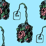Illustration of a tea bag with herbs, flowers. Seamless pattern. Stock Photo
