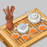 Illustration with tea ceremony. Tea table with teapot, tea bowls, jug and tea tools Royalty Free Stock Photos