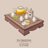 Illustration with tea ceremony. Tea table with teapot, tea pairs, gaiwan, and tea leaves Stock Photo