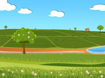 Illustration of tea plantation. And beautiful beautiful blue sky with white fluffy clouds in a bright summer day landscape Stock Photo