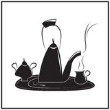 Illustration of tea-time. Vector illustration of tea-time in black and white Stock Photography