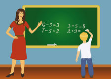 Illustration of teacher and pupil Stock Images