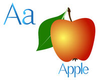 Illustration for teaching children the English alphabet with cartoon apple. The letter a. Illustration for teaching children the English alphabet with cartoon Royalty Free Stock Images