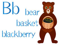 Illustration for teaching children the English alphabet with cartoon bear with basket. The letter B. Illustration for teaching children the English alphabet Stock Images