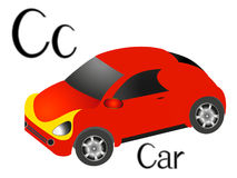 Illustration for teaching children the English alphabet with cartoon car. The letter C. Illustration for teaching children the English alphabet with cartoon car Royalty Free Stock Photography
