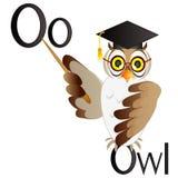 Illustration for teaching children the English alphabet with cartoon owl teacher. The letter O. Stock Photos