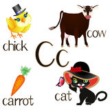Illustration for teaching children the English alphabet. The letter Cc. Stock Photography