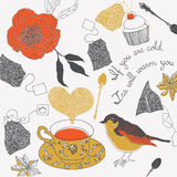 Illustration of teacups, birds, tea bags Royalty Free Stock Image