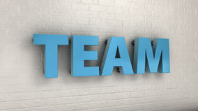 Illustration of TEAM word on the wall, business concept. 3d illustration of TEAM word on the wall, business concept Stock Images