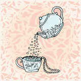 Illustration teapot and cup.  Cute children drawing Royalty Free Stock Image