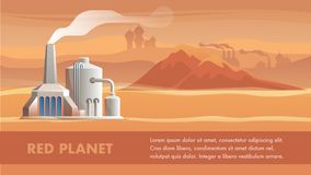 Illustration Technical Station Surface Red Planet royalty free illustration