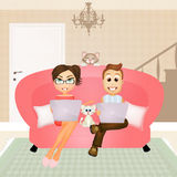Illustration of technological couple Royalty Free Stock Photography