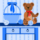 Illustration with teddy bear. And Christmas decorations Stock Photography