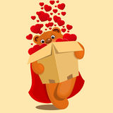Illustration of teddy bear with box and hearts Stock Images