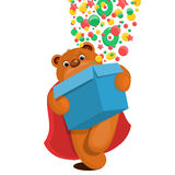 Illustration of teddy bear with gift box Stock Image