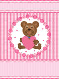 Teddy Bear Love Card_eps. Illustration of Teddy Bear love card, top and bottom is your sample text. Also feminine design suitable for your products cover Stock Photo