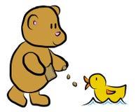 Illustration of a teddy feeding a duck Stock Image