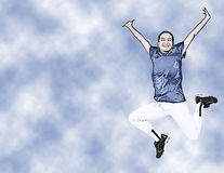 Illustration Teen Girl In Uniform Jumping Stock Image