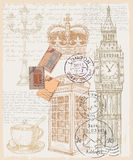 Illustration of telephone great britain. Vector hand drawn illustration of great britain Stock Image