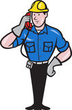 Telephone Repairman Lineman Worker Phone Stock Photography
