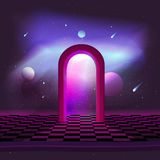Illustration teleport gate in space. Beautiful illustration of a fantasy. Flying of comets in depths the space on the background of the constellation of the Royalty Free Stock Photography