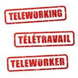 Teleworking stamp in english and french translation. Illustration of teleworking stamp in english and french translation Royalty Free Stock Images