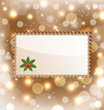 Illustration template frame with mistletoe Royalty Free Stock Photos