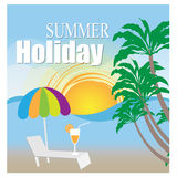 Illustration of template for holiday on sea beach Stock Photo