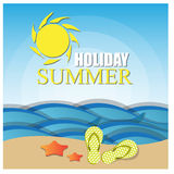Illustration of template for holiday on sea beach Royalty Free Stock Photography