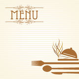 Illustration of template for menu card with cutlery Stock Images