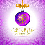 Illustration template with single shiny violet christmas ball Stock Image