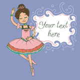Illustration template with text and beautiful brunette ballerina girl dancing. In shiny pink dress Stock Photo