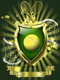 Tennis ball on background of the shield Royalty Free Stock Image