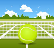 Illustration of Tennis ball and net Royalty Free Stock Photos