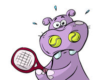 Illustration of tennis hippo Stock Photo