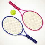 Illustration Tennis rackets and ball. On white background.rn Stock Photos