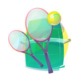 Illustration for tennis with wooden racks and ball Royalty Free Stock Images