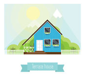 Illustration of a terraced house in the mountains Stock Image