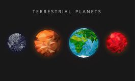 Illustration terrestrial planets. The rocky planets of the solar system. Mercury, Venus, Earth, and Mars. Illustration terrestrial planets. The rocky planets of Stock Photo