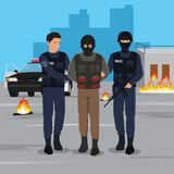 Illustration of a Terrorist Arrested by Police. Police vector illustration. EPS10 Format Stock Photos