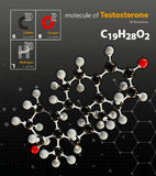 Illustration of Testosterone Molecule isolated black background Stock Photo