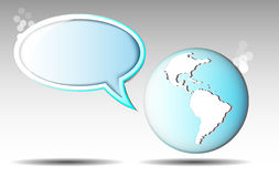 Illustration of text balloon with earth Royalty Free Stock Photos
